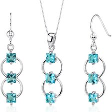 3 Stone Princess Cut Sterling Silver Gemstone Pendant Earrings Set