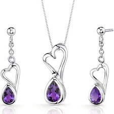 Heart Design Pear Shape Sterling Silver Gemstone Pendant Earrings Set