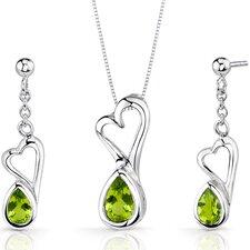 Heart Design 1.75 Carats Pear Shape Sterling Silver Peridot Pendant Earrings Set