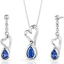 Heart Design 2 Carats Pear Shape Sterling Silver Sapphire Pendant Earrings Set