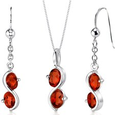 2 Stone Oval Shape Sterling Silver Gemstone Pendant Earrings Set