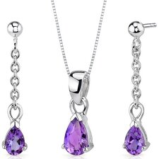 Dangling Pear Shape Sterling Silver Gemstone Pendant Earrings Set