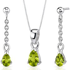 Dangling 1.5 Carats Pear Shape Sterling Silver Peridot Pendant Earrings Set