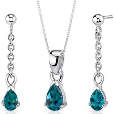 Dangling 2 Carats Pear Shape Sterling Silver London Blue Topaz Pendant Earrings Set