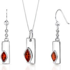 Art Deco Marquise Shape Sterling Silver Gemstone Pendant Earrings Set
