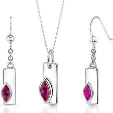 Art Deco 1.25 Carats Marquise Shape Sterling Silver Ruby Pendant Earrings Set