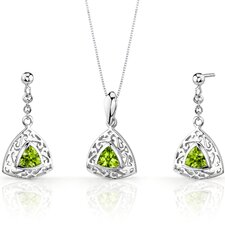 Filigree Design 1.5 Carats Trillion Cut Sterling Silver Peridot Pendant Earrings Set