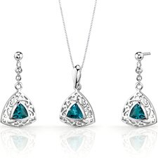 Filigree Design 1.5 Carats Trillion Cut Sterling Silver London Blue Topaz Pendant Earrings Set