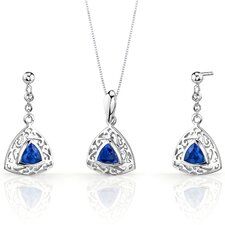 Filigree Design 1.5 Carats Trillion Cut Sterling Silver Sapphire Pendant Earrings Set