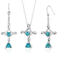 Cross Design 2.25 Carats Trillion Heart Cut Sterling Silver Swiss Blue Topaz Pendant Earrings Set