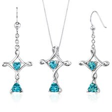Cross Design Trillion Heart Cut Sterling Silver Gemstone Pendant Earrings Set