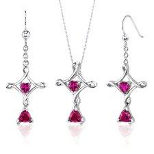 Cross Design 2.5 Carats Trillion Heart Cut Sterling Silver Ruby Pendant Earrings Set