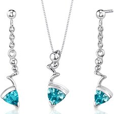 Museum Style 1.75 Carats Trillion Cut Sterling Silver Swiss Blue Topaz Pendant Earrings Set