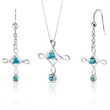 Cross Design 1.5 Carats Trillion Cut Sterling Silver London Blue Topaz Pendant Earrings Set