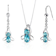 Bee Design 3.25 Carats Oval Round Cut Sterling Silver Swiss Blue Topaz Pendant Earrings Set