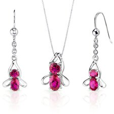 Bee Design 3.5 Carats Oval Round Cut Sterling Silver Ruby Pendant Earrings Set