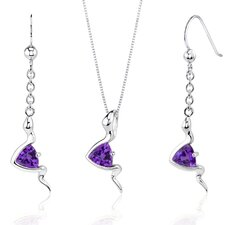 Contemporary Style Trillion Cut Sterling Silver Gemstone Pendant Earrings Set
