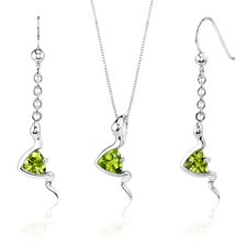 Contemporary Style 1.5 Carats Trillion Cut Sterling Silver Peridot Pendant Earrings Set