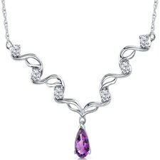 Eye Catchy 1 Carats Pear Shape Amethyst and White CZ Gemstone Necklace in Sterling Silver