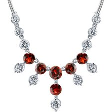 Luxurious 11.00 carats Round Shape Garnet and White CZ Gemstone Necklace in Sterling Silver