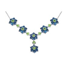 Flower Design 13.50 carats Round Shape Multi-Gemstone Necklace in Sterling Silver