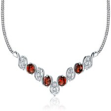 Trendy 4.00 carats Oval Shape Garnet and White CZ Gemstone Necklace in Sterling Silver