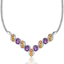 Trendy 4.50 carats Oval and Round Shape Multi-Gemstone Necklace in Sterling Silver