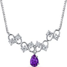 Unique 1.50 carats Pear Shape Amethyst and White CZ Gemstone Necklace in Sterling Silver