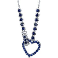 One of a Kind Round Shape Created Sapphire Gemstone Pendant Necklace in Sterling Silver