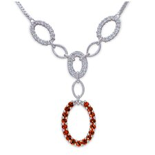 European Style 2.75 Carats Total Weight Round Shape Garnet and White CZ Gemstone Necklace in Sterling Silver