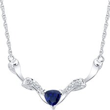 Elegant Trillion Cut Created Sapphire and White CZ Pendant Necklace in Sterling Silver