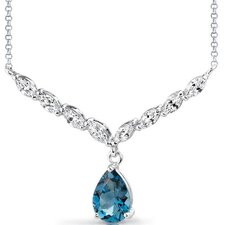 <strong>Oravo</strong> Luminous Beauty 3.00 carats Pear Shape London Blue Topaz and White CZ Gemstone Necklace in Sterling Silver