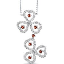 Destined to Dazzle 1.00 Carat Round Shape Garnet and White CZ Gemstone Necklace in Sterling Silver
