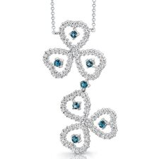 <strong>Oravo</strong> Destined to Dazzle 0.75 Carat Round Shape London Blue Topaz and White CZ Gemstone Necklace in Sterling Silver