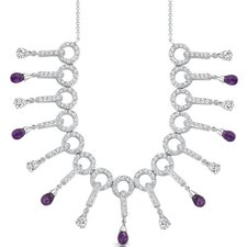 Dainty Chic 3.75 Carats Briolette Drop Amethyst and White CZ Gemstone Necklace in Sterling Silver
