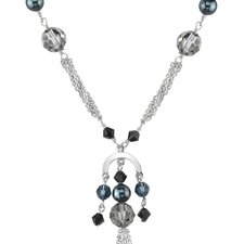 La Nina Sterling Silver Charm Fringe Necklace with Swarovski Crystals and Cultured Pearls
