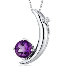 Round Checkerboard Cut Gemstone Crescent Moon  Pendant