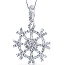 Machine Cut White Cubic Zirconia Snowflake Design Pendant