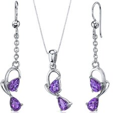 Pear Shape Gemstone Intricate 2 Stone Design Pendant Earrings Set