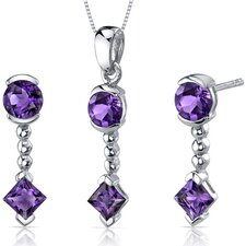 Round and Princess Cut Gemstone Dashing Pendant Earrings Set
