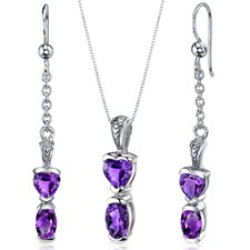 Oval and Heart Shape Gemstone Cupids Charm Pendant Earrings Set