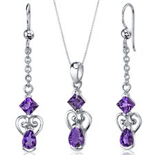 <strong>Oravo</strong> Pear Shape Gemstone 2 Stone Heart Design Pendant Earrings Set