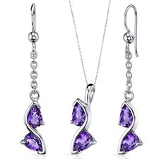 Pear Shape Gemstone Artistic Pendant Earrings Set
