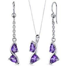 Pear Shape Gemstone Artistic Pendant Earrings Set