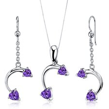 Heart Shape Gemstone Love Duet Heart Shape Pendant Earrings Set