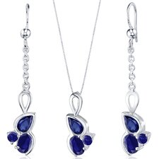 Oval Cut Gemstone 3 Stone Design Pendant Earrings Set