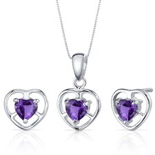 <strong>Oravo</strong> Heart Cut Gemstone Solitaire Design Pendant Earrings Set