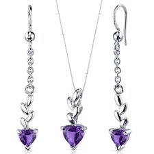 Heart Cut Gemstone Dangling Pendant Earrings Set