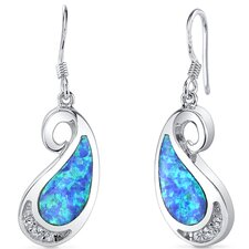 Opal Spiral Tear Drop Dangle Earrings