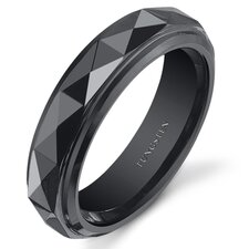 Tungsten Faceted Wedding Band
